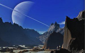 saturn, landscape, mountains