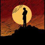 man, moon, hill