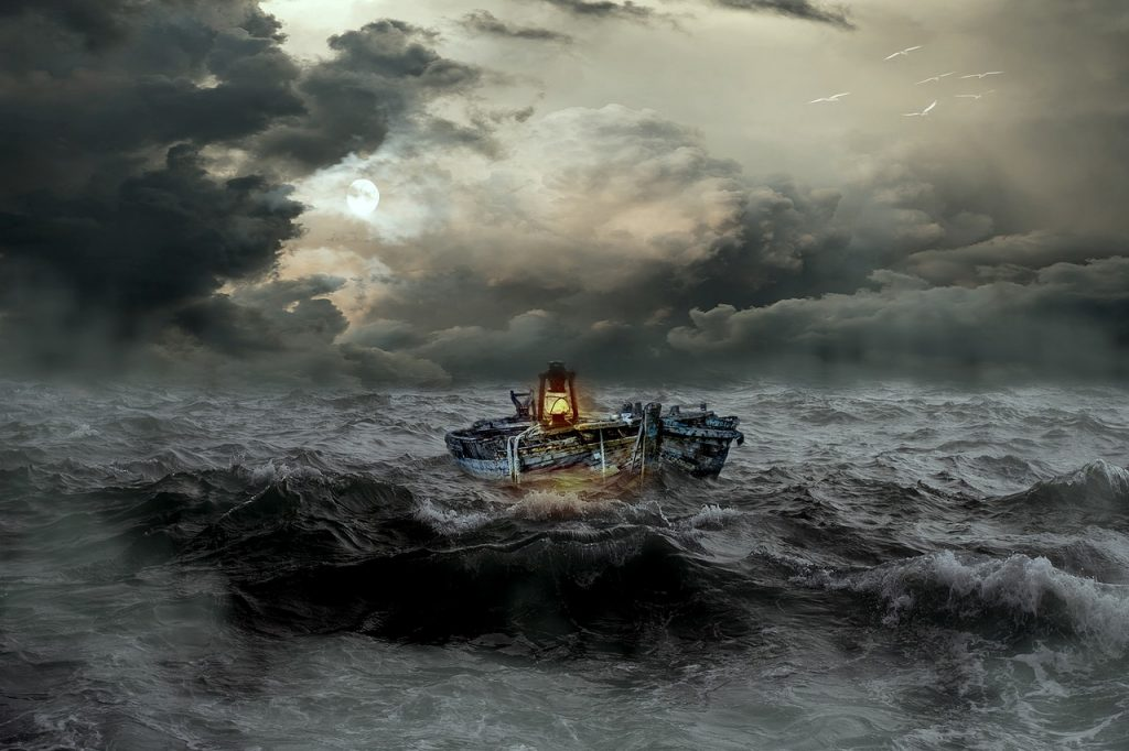 boat, distress, sea