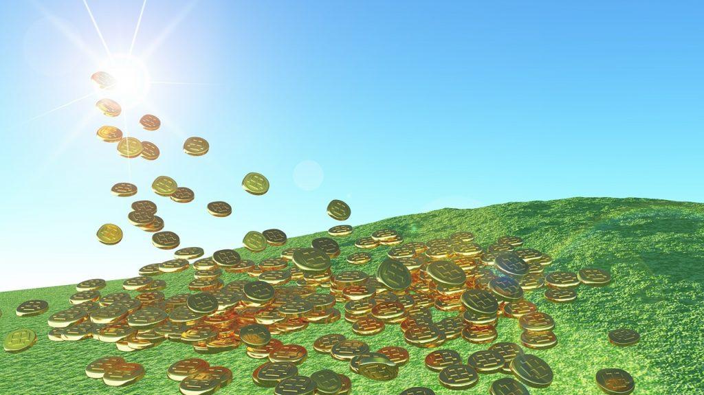 solar energy, gold coins, sunshine