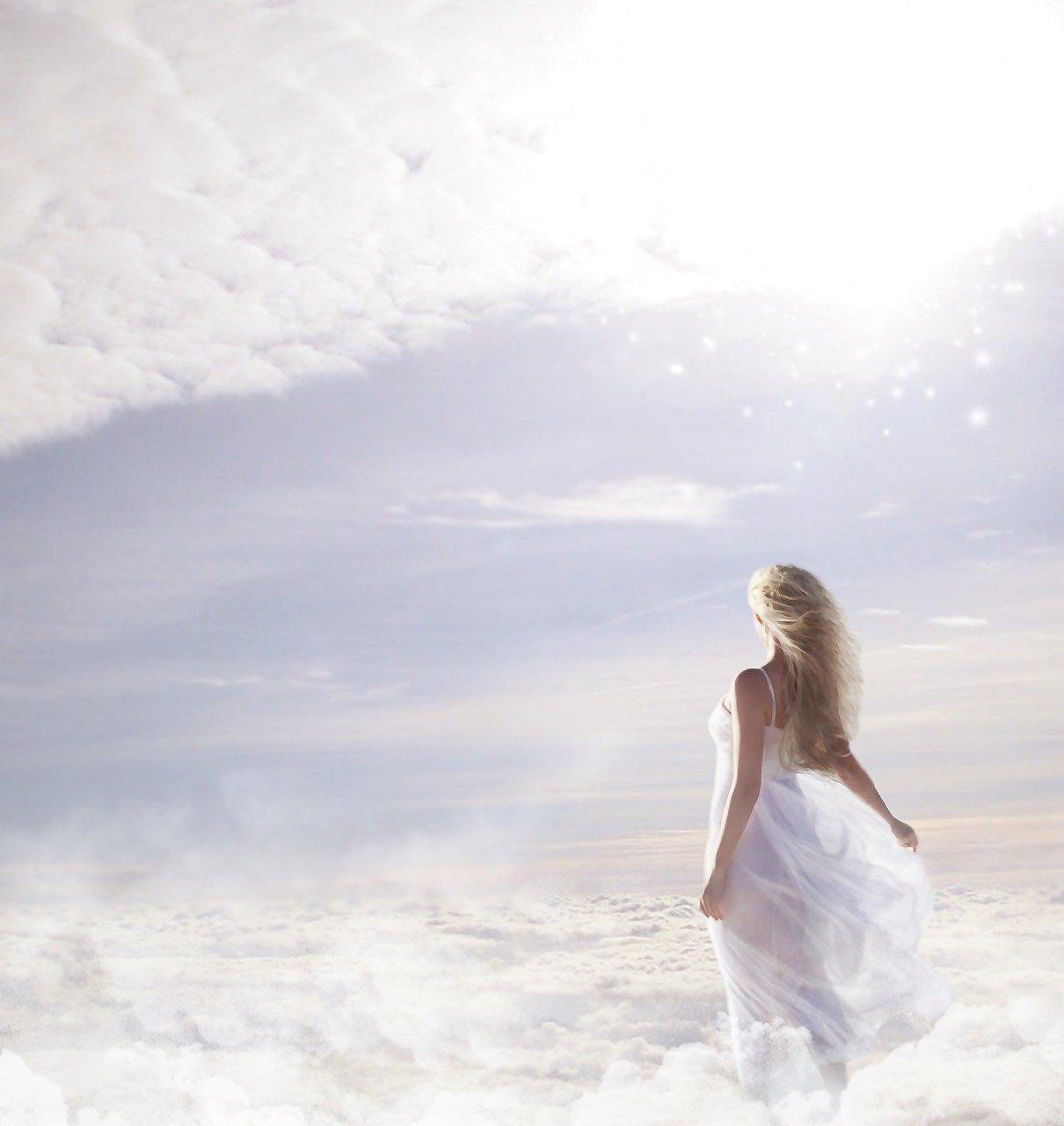 woman, clouds, sky