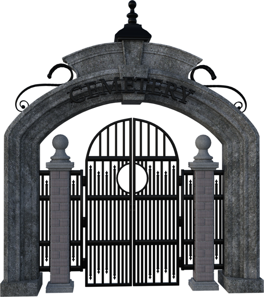 cemetery, gate, iron